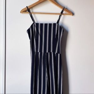 Ambiance navy and white striped jumpsuit